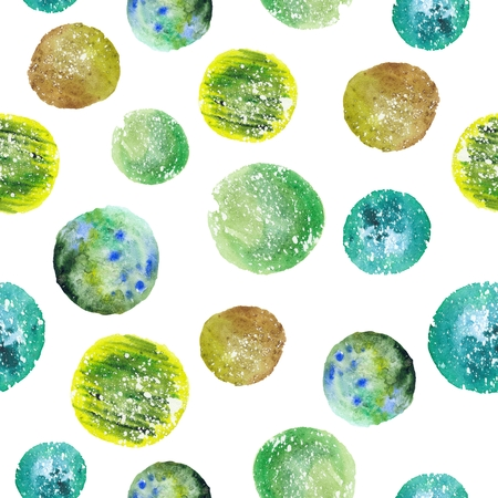 sienna: Abstract seamless geometric hand-painted texture with funny round shapes on white background