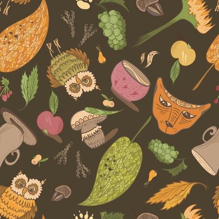 Bosquejo del Doodle Perfecta textura enlosables con hojas, b�ho, zorro, setas, copas