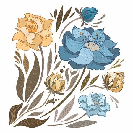 Vector boceto pintado a mano elementos florales y hojas en colores retro