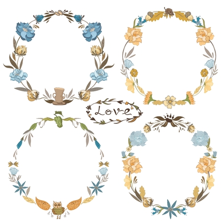 acorn: Hand-painted sketch doodle floral autumn hippie circle frames collection isolated on white background, Indie Style