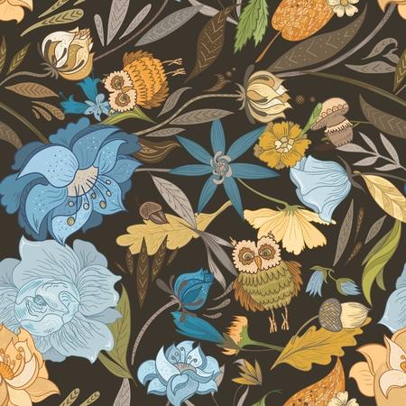 sowa: Bezszwowych tekstur z zasadniczych spadek lasów na brązowym tle Ilustracja