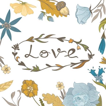 Vector boceto tarjeta doodle de acci�n de gracias con las flores de la vendimia en el fondo blanco Vectores