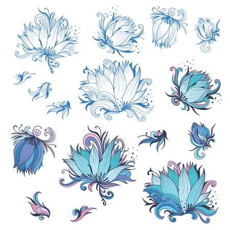 graphic flower: Collection of Vector floral outline sketch and colored shapes for tender wedding and event design