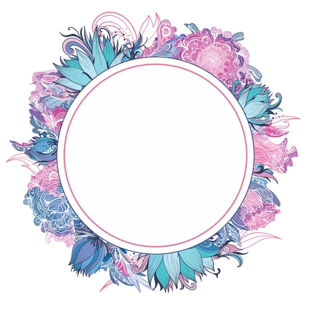 lotus background: Card template with lotus, lily and peony flowers for wedding invitation and style designs Illustration