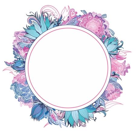 flor de lis: Modelo de la tarjeta con el loto, lirio y flores de peon�a para la invitaci�n de boda y dise�os de estilo Vectores