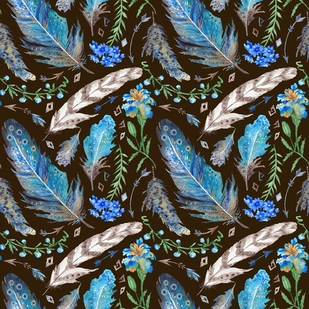 azure: Seamless watercolor texture with succulents, feathers, arrows and flowers on brown background