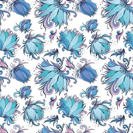 Vector de fondo sin fisuras con flores de lirio azul celeste romántica Foto de archivo - 47310605