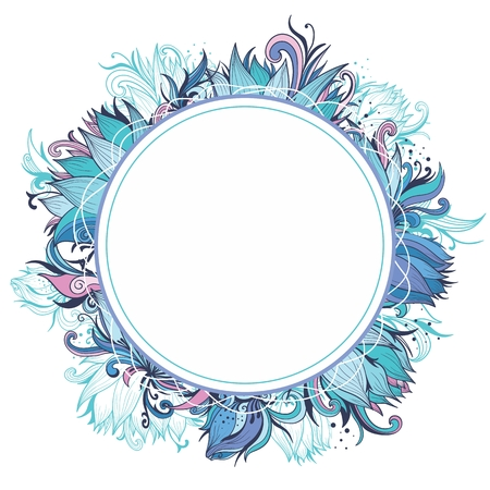 Creative ornamental circle swirl floral wreath with turquoise, pink, blue and purple lily flowers