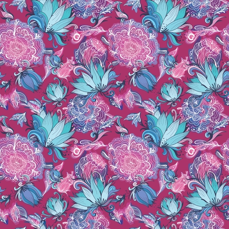 Floreal seamless romantic texture with sketch hand-painted flowers on rose background