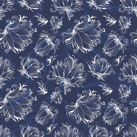 white blossom: Seamless floral texture with white lotus flowers on indigo blue background