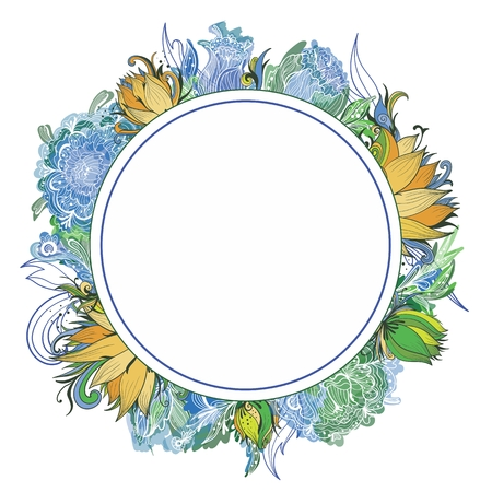 Circle frame with peony, lotus and lily flowers in green, yellow and blue colors on white background