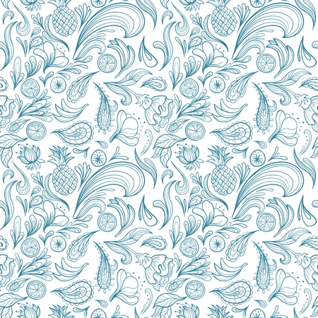 swirl patterns: Seamless turquoise travel texture with swirls, paisley ornaments and fruits for holiday deign Illustration