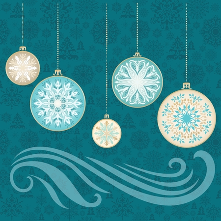 christmas tree illustration: Turquoise and gold beautiful illustration with Christmas tree balls