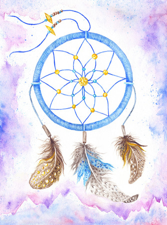 Hand-painted purple and blue hippie accessory with brown feathers Stock Photo