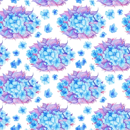 purple wallpaper: Hand-painted blue and purple boho illustration on white background Stock Photo