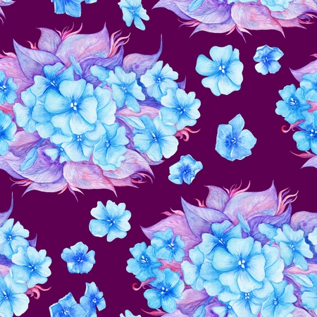 Texture with blue flowers and purple leaves on maroon background for wallpaper and textile design