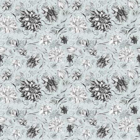 flower decoration: Seamless background with black hand-painted flowers on pastel lining