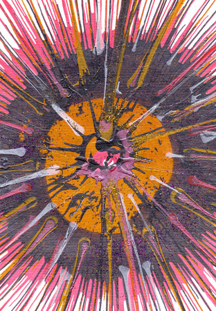 expressional: Colorful contemporary modern art acrylic blob drawing Jackson Pollock style