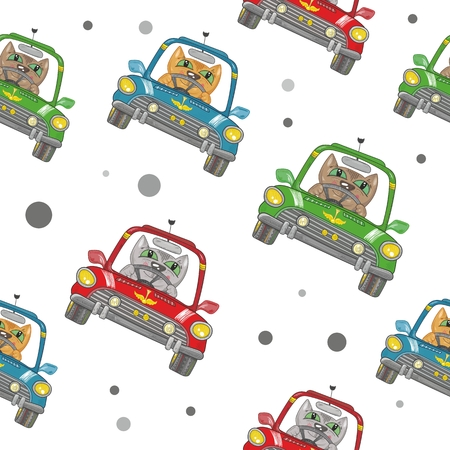 Seamless funny baby texture with colorful transport on white background