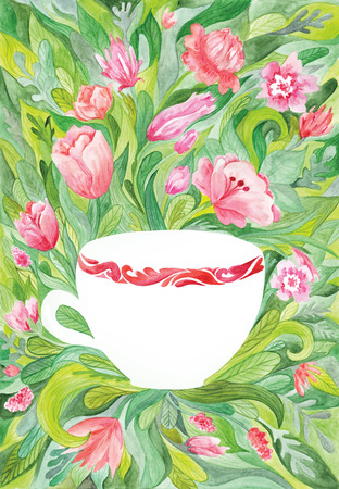 teacup: Creative botanical painting with red flowers, green leaves and white cup