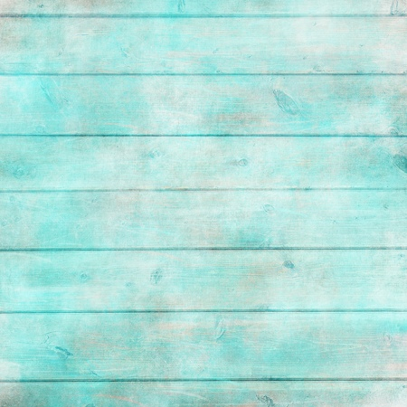 Rustic old plank background in turquoise, mint and beige colors with textured scratches and antique cracked paint for scrapbooking and decoupage Standard-Bild