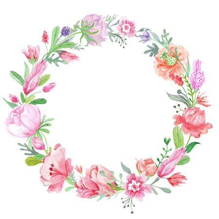 Primavera creativa cornice rotonda con rosso selvaggio, fiori rosa e viola per la progettazione di schede, gli inviti di nozze