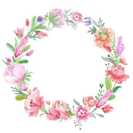 Spring creative round frame with wild red, pink and purple flowers for card design, wedding invitations Foto de archivo