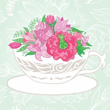 tazza di te: Biglietto di auguri vettoriale con fiori ornamentali e foglie su sfondo verde morbido