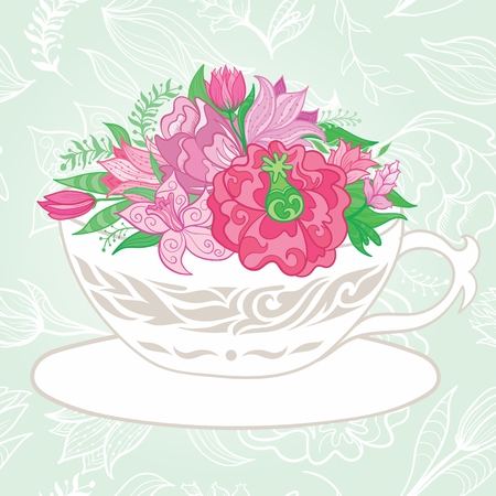 red cup: Vector greeting card with ornamental florals and leaves on soft green background