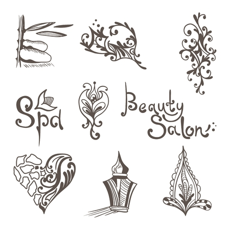 oriental medicine: Creative ornamental icons and signs for massage, beauty business identity design