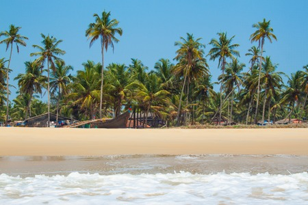 Beach panorama with sea, fishing boats and palm trees