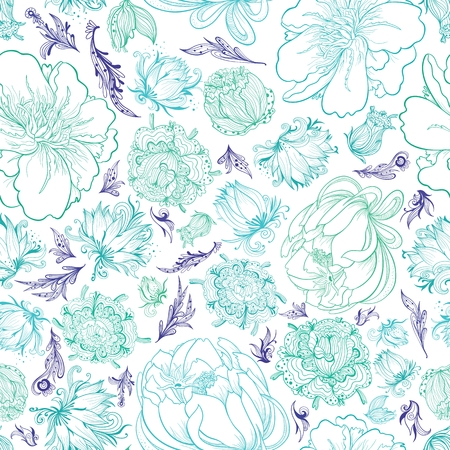 Seamless romantic elegant background with ornamental doodle style flowers