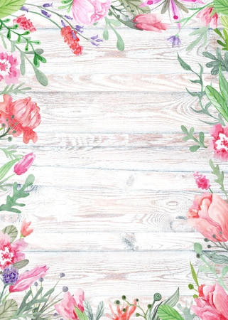 Shabby chic vintage card template for wedding, summer event invitation, menu, table card with meadow flowers and herbs