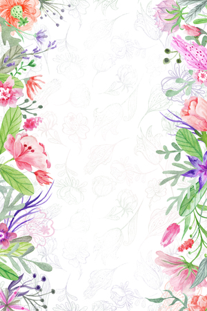 sides: Watercolor greeting, invitation template with meadow flowers on sides for bright eco design Stock Photo