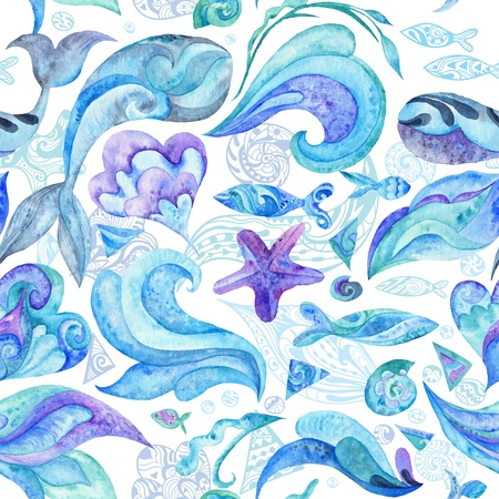 underwater fishes: Nautical underwater texture with fishes, whales, starfishes, shells and waves isolated on white background for wallpaper and fabric design