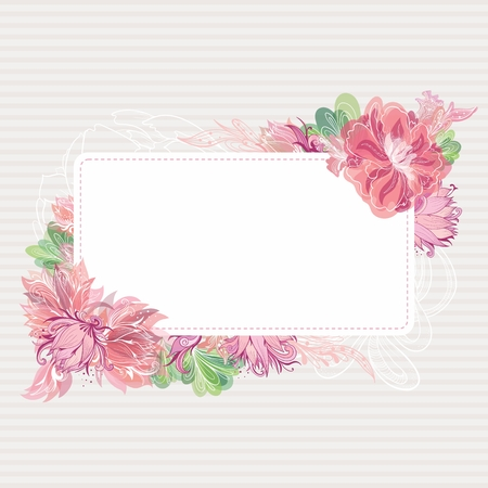 lotus effect: Beautiful card template with shabby chic peony, lily and lotus flowers with watercolor transparent effect for greeting and wedding design Illustration