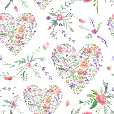 flower shape: Seamless hand-painted texture with wild meadow flowers and plants on white background for paper and textile design Stock Photo