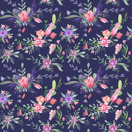 provence: Seamless romantic country provence texture with wild flowers and herbs on dark blue indigo background Stock Photo