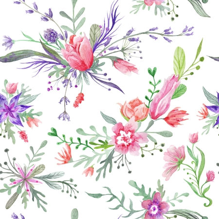 provence: Seamless romantic country provence texture with wild flowers and herbs on white background