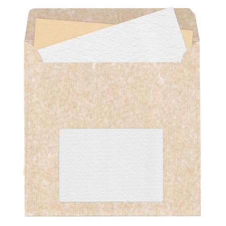 Old textured blank mailing sleeve with clear watercolor sheet for design and scrapbooking