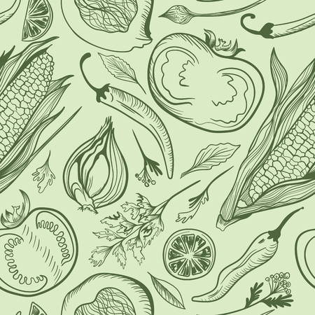 Seamless sketch texture with outline hand painted fresh healthy vegetables and spices