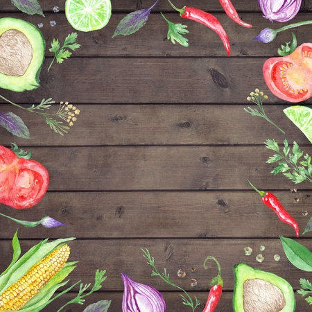 Wood table background with hand painted Vegetable border frame for kitchen and reataurant design Stock Photo