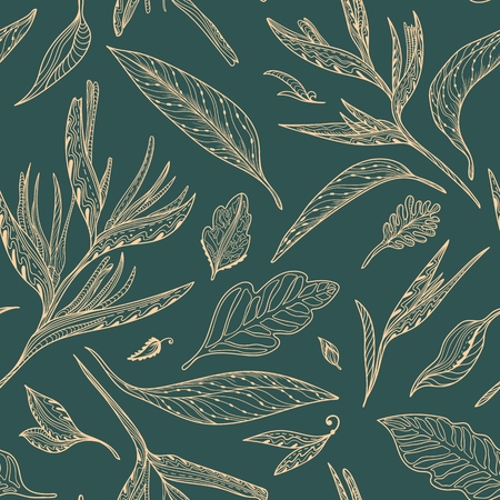 Seamless texture with exotic plants and leaves on dark green background