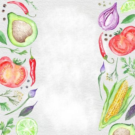 Watercolor menu template paper background with hand-painted vegetarian food ingredients
