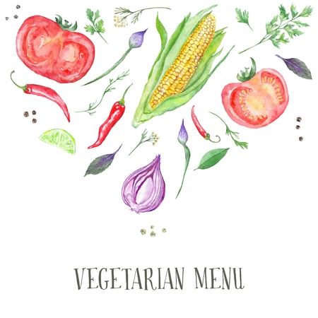 Hand-painted watercolor illustration with veggie food ingredients isolated on white background