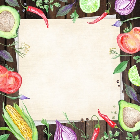 Wood table background with linen paper hand painted Vegetable border frame for kitchen and reataurant design