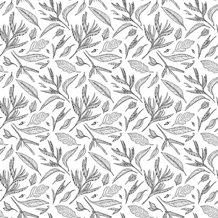 Seamless exotic plants texture with sketch ornamental leaves for textile and wallpaper design Illustration