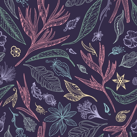 Seamless doodle texture with exotic plants, flowers and leaves in pastel colors on purple background