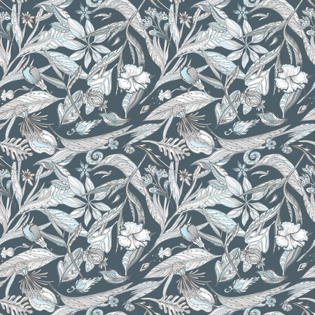 Seamless vector pattern with sketch outline exotic tropical plants for textile and wallpaper design