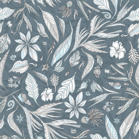 Seamless pattern with sketch outline exotic tropical plants for textile and wallpaper design Illustration